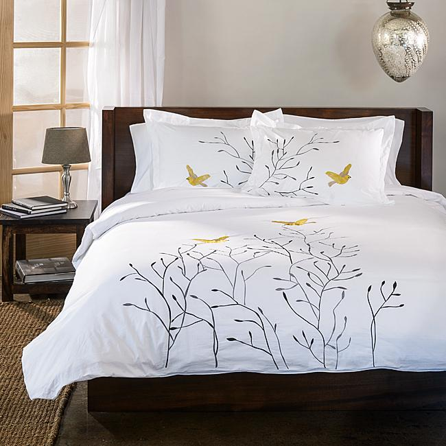 Birds duvet cover set - with branches and birds
