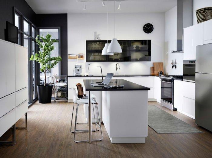 Black modern kitchen cabinet - with transparent glass door