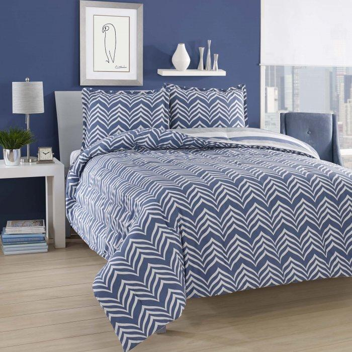 Blue duvet cover set - in a traditional bedroom