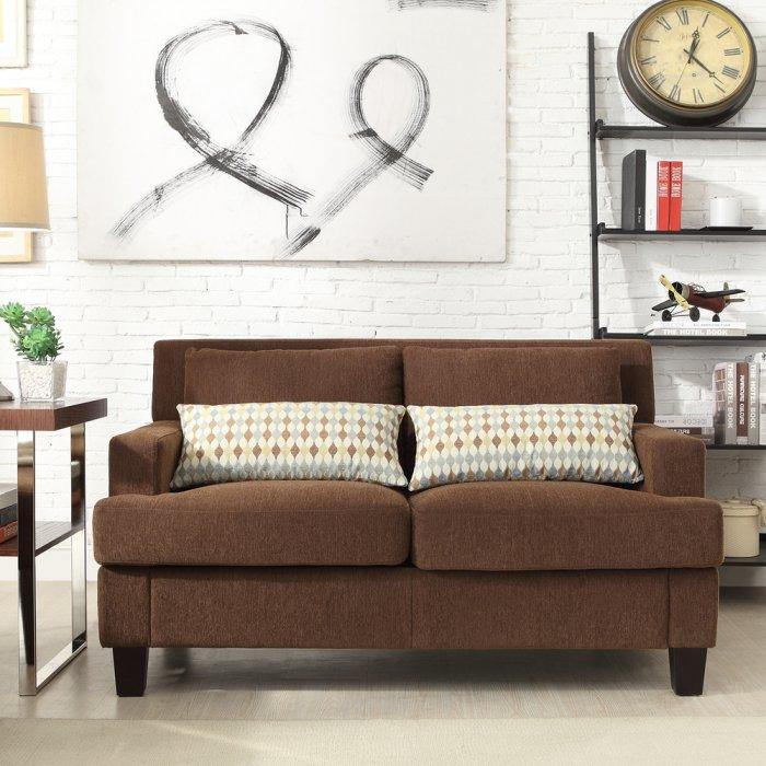 Brown loveseat sofa - in a modern living room