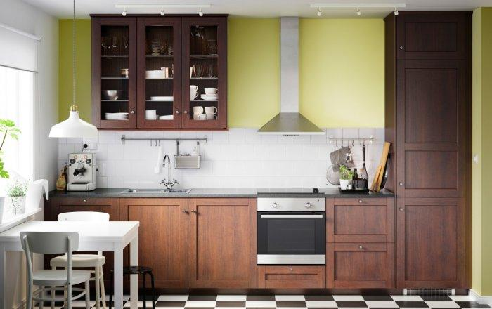 Brown modern kitchen cabinet - with high glass door