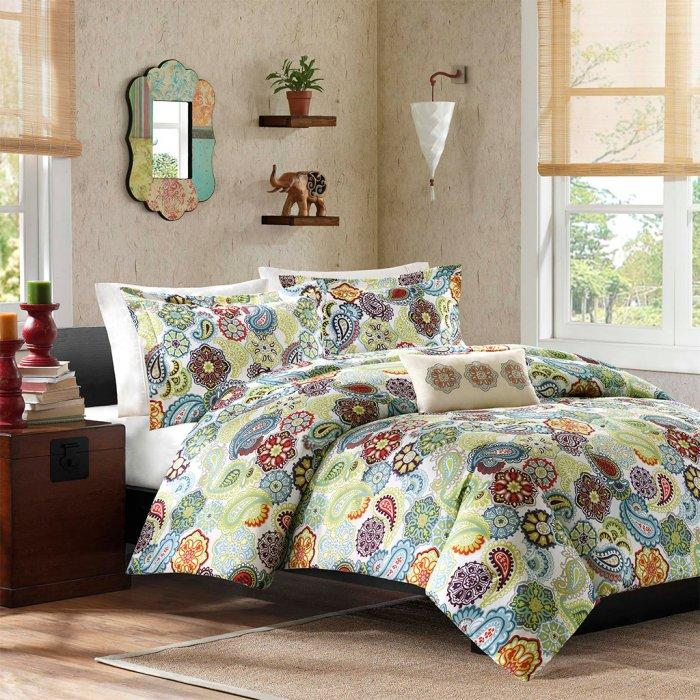 Colorful duvet cover set - in a small contemporary bedroom