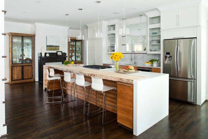 Contemporary marble kitchen countertop - on a wooden island