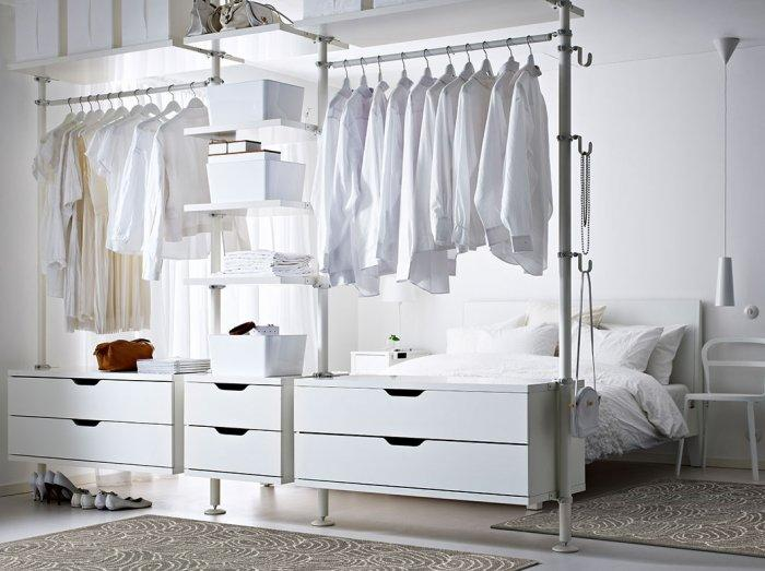Creative open bedroom wardrobe storage - with hangers for clothes