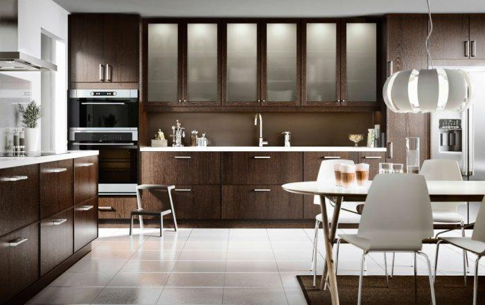 Dark Brown Modern Kitchen Cabinet   With Matted Glass Door