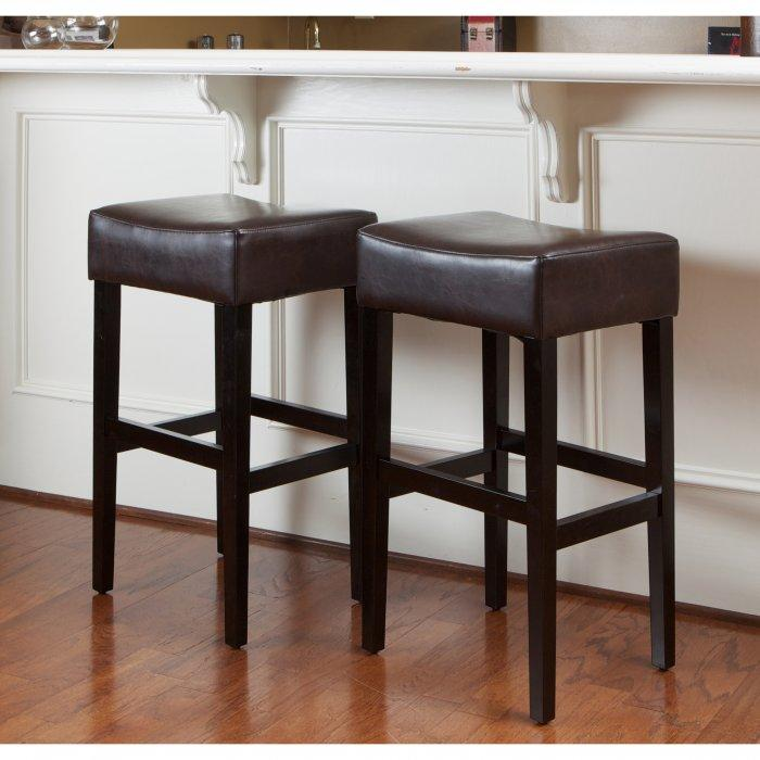 Dark leather kitchen bar stool - with traditional style