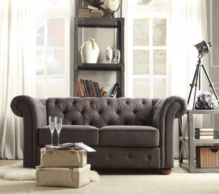 Dark linen loveseat sofa - for eclectic living rooms
