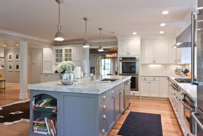 Dark white marble kitchen countertop - on a large grey island