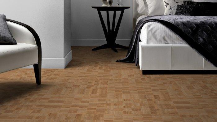 Designer floor tile in light brown - for luxurious bedroom