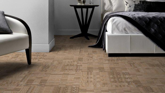 designer floor tile in wood pattern for luxurious bedroom