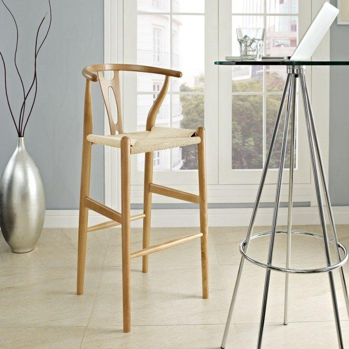 Designer modern kitchen bar stool - made of wood and burlap