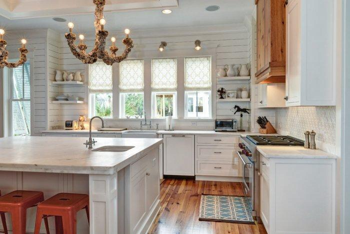 Eclectic marble kitchen countertop - on a huge island