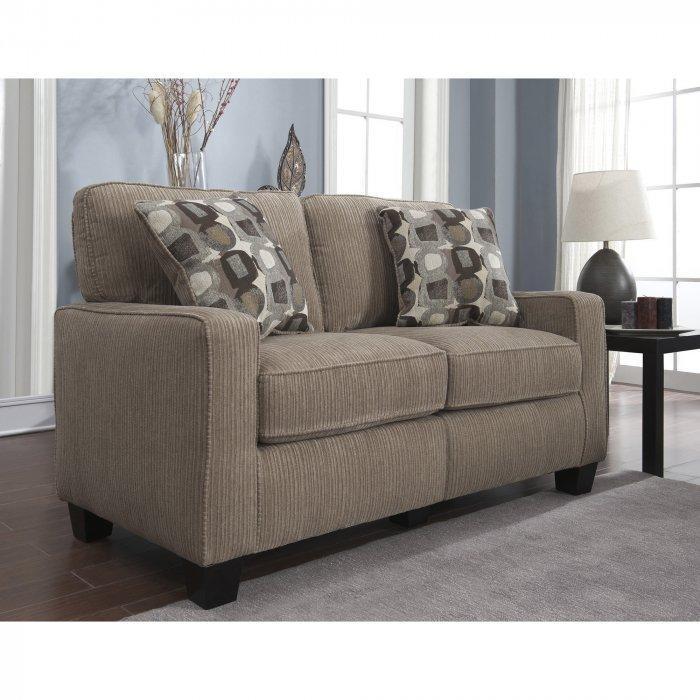 Fabric loveseat sofa - in dark beige