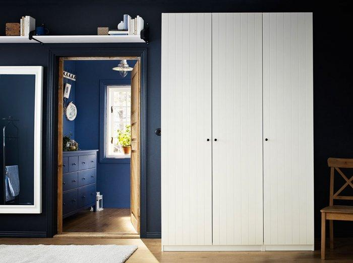 Farmhouse white bedroom wardrobe - with three sections