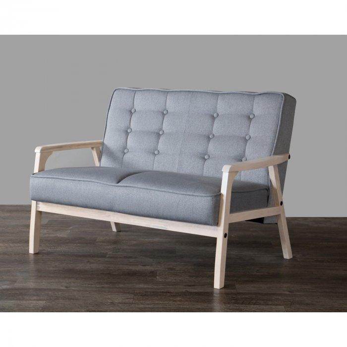 Grey loveseat sofa - with textile upholstery