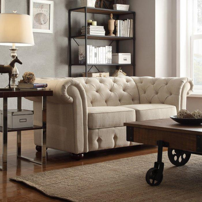 Linen tofted loveseat sofa - with classic design