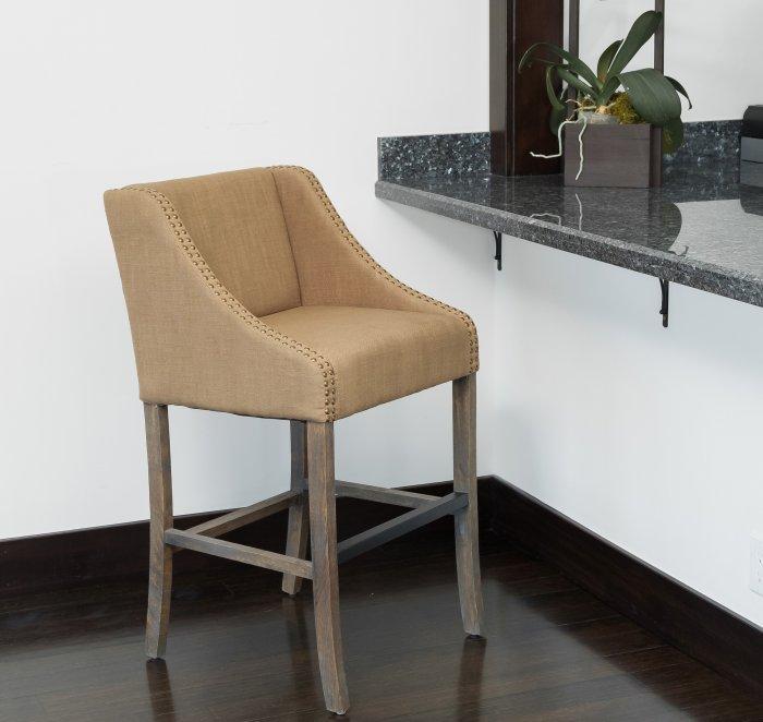 Medium brown kitchen bar stool - with wooden legs