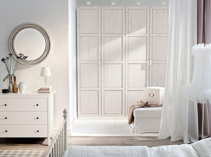 Modern white bedroom wardrobe - in a stylish home