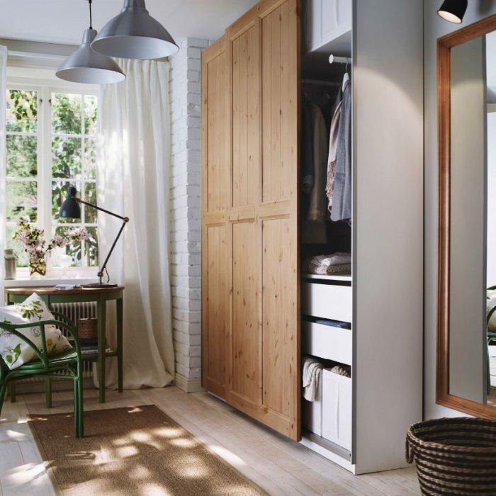 Natural bedroom wardrobe - made of wood