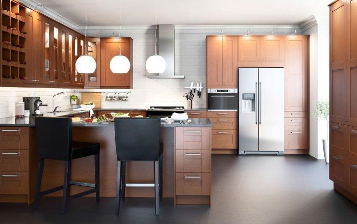 Oak modern kitchen cabinet - with modern glass door