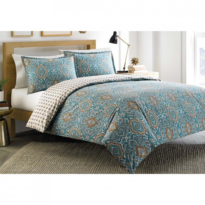 Patterned duvet cover set - with interesting blue shapes