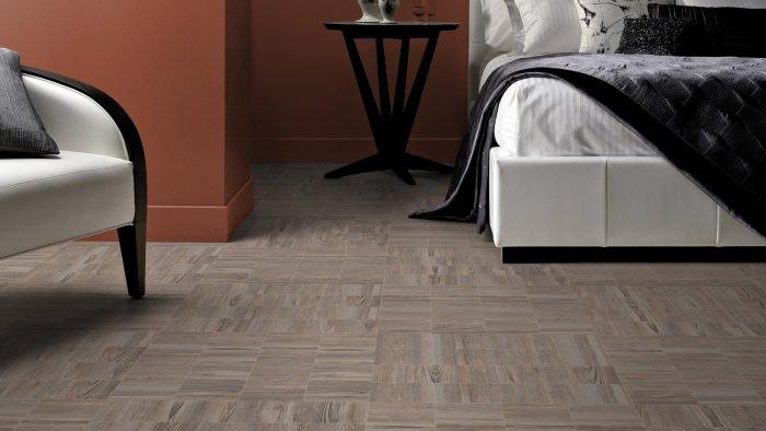 Polycolored designer floor tiles - in pale brown nuances