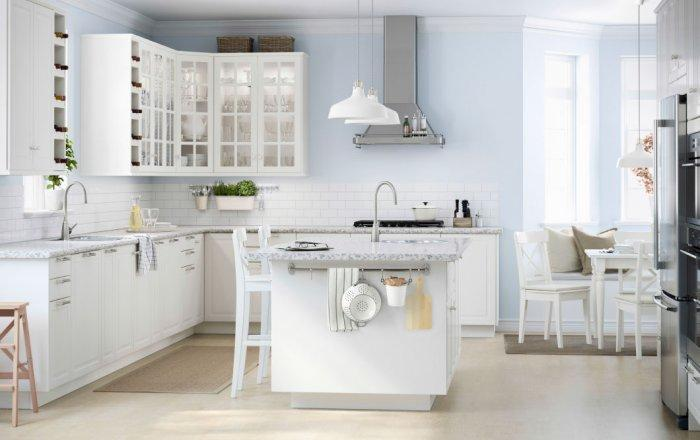 Pure white modern kitchen cabinet - with traditional glass door