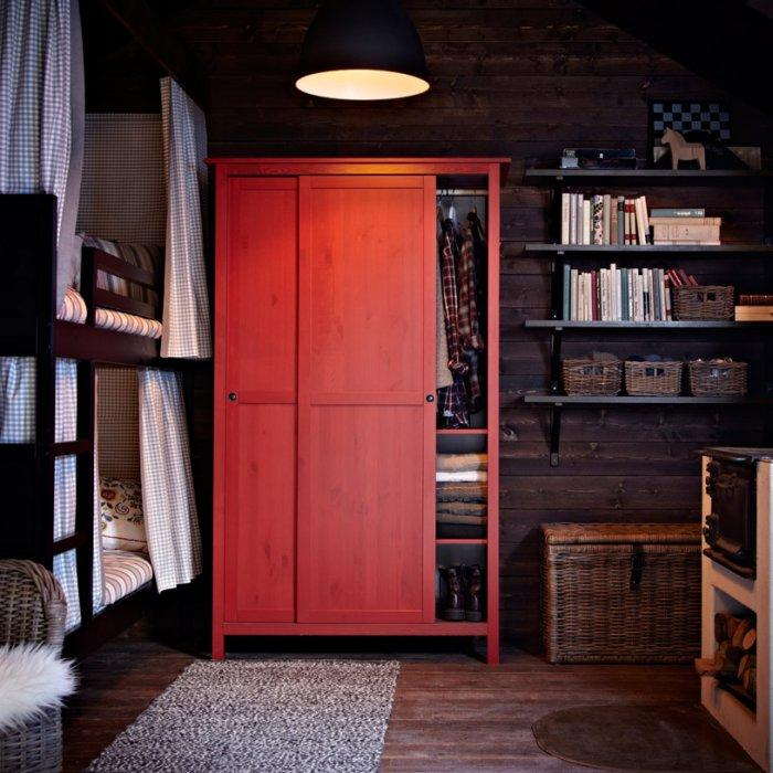 Red bedroom wardrobe - with simple design