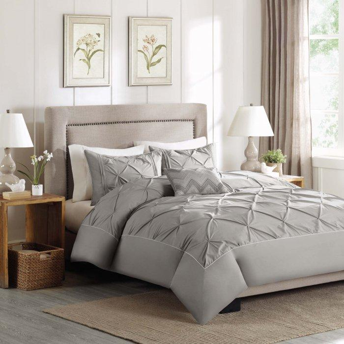 Relief duvet cover set - in pale grey color