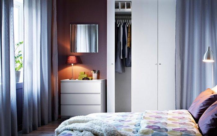 Simple white bedroom wardrobe - with two sections