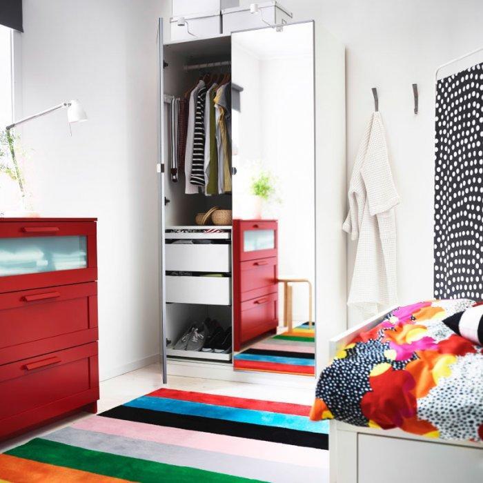 Small bedroom wardrobe - with mirror doors