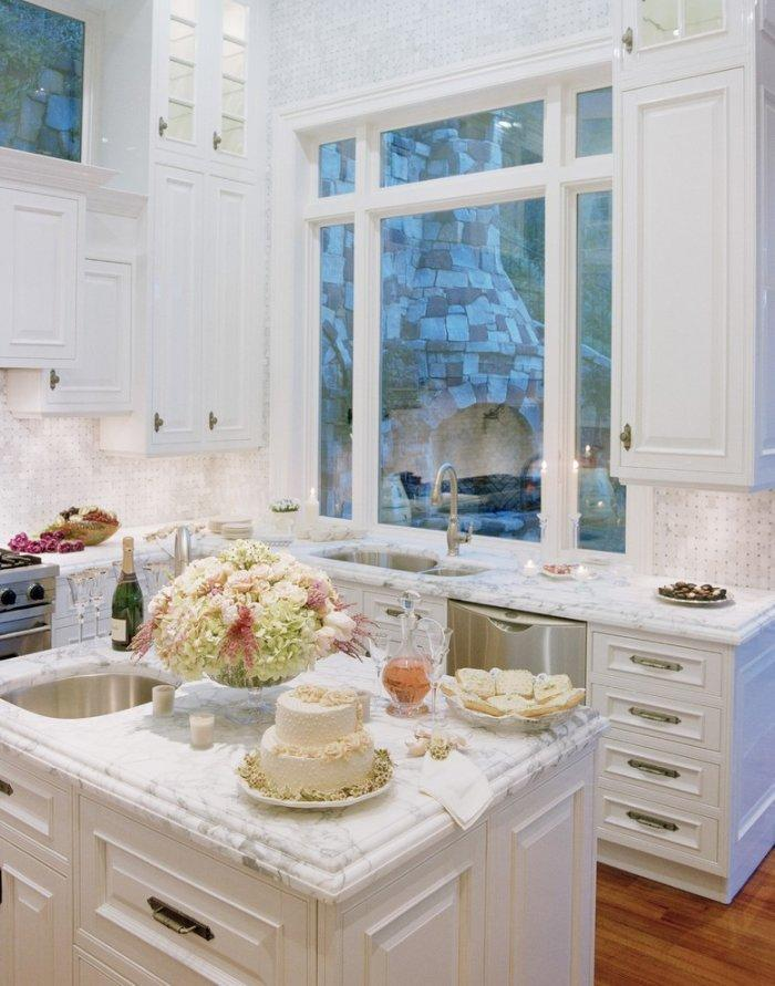 Small white marble kitchen countertop - with plenty of food