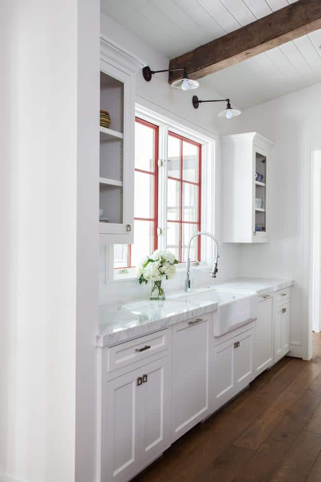 Transitional marble kitchen countertop - around the sink area