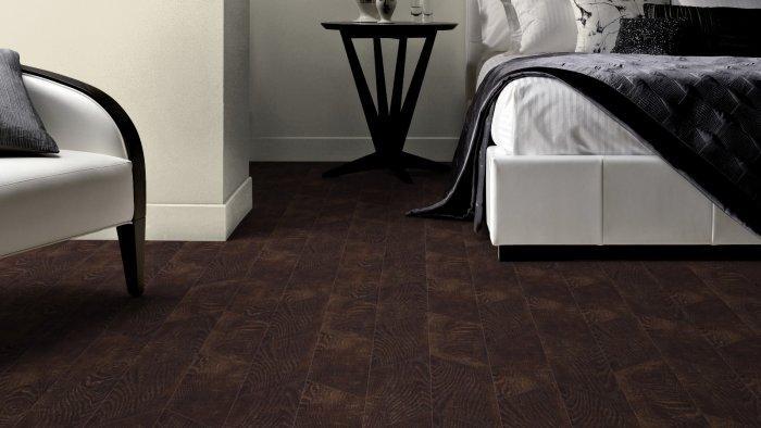 Walnut designer floor panels - with fishbone pattern