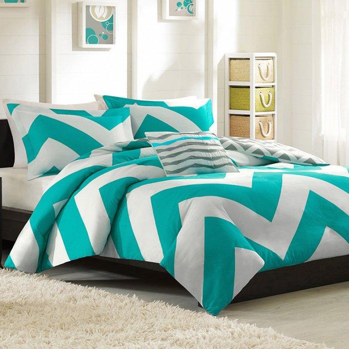 White And Cyan Duvet Cover Set   In A Modern Small Bedroom