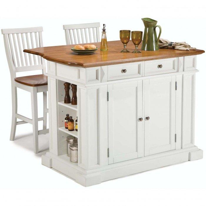 White distressed kitchen bar stool - with wooden backrest