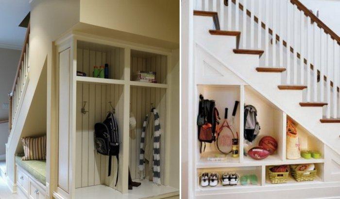 storage ideas under stairs in hallway2