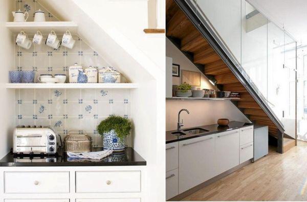 storage ideas under stairs in kitchen