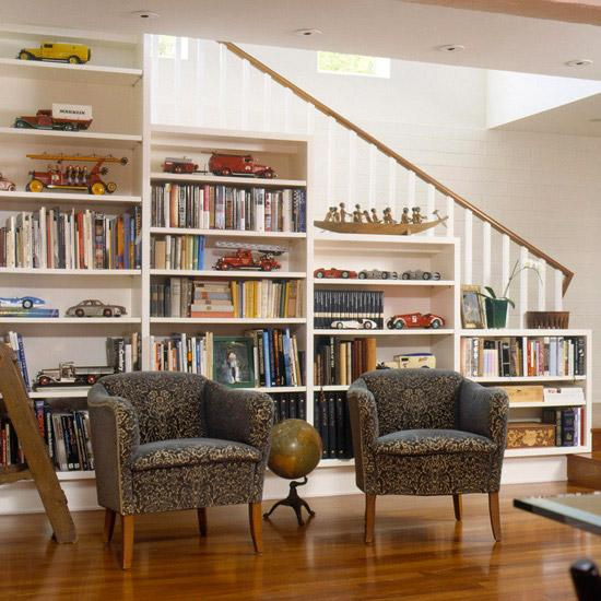 storage ideas under stairs in livingroom