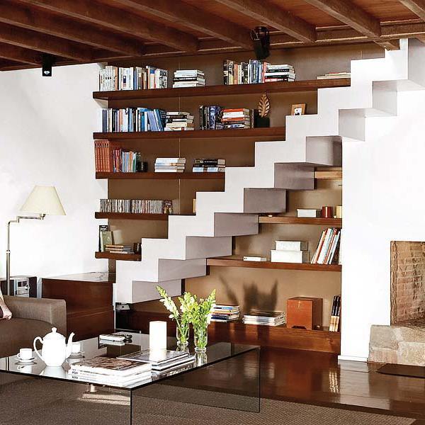 storage ideas under stairs in livingroom1