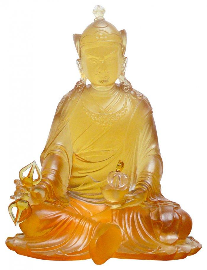 Asian Budha glass figurine - made of yellow material