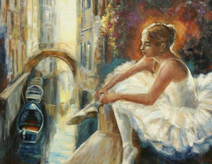 Ballerina wall painting - impressionist