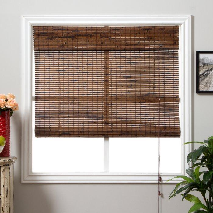 Bamboo bedroom blind - in dark brown