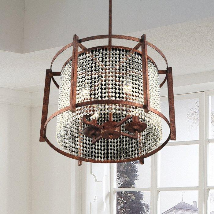 Brown crystal chandelier - with oval shape