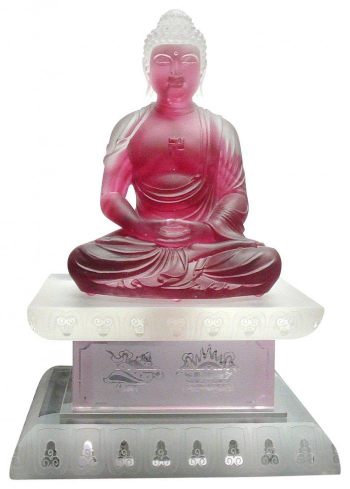 Budha glass figurine - in red color