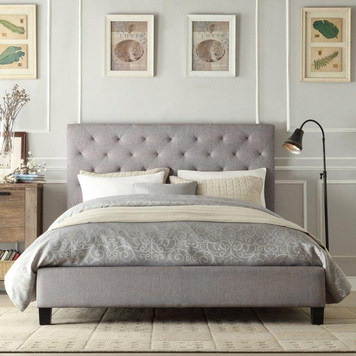 Comfortable platform bed - with gray headboard