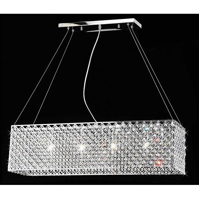 Contemporary crystal chandelier - with rectangular shape