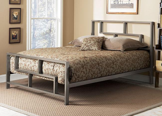 Dark platform bed - with iron frame