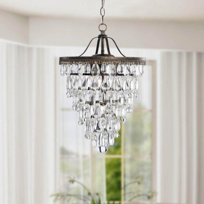 Elegant crystal chandelier - with water drop pendants