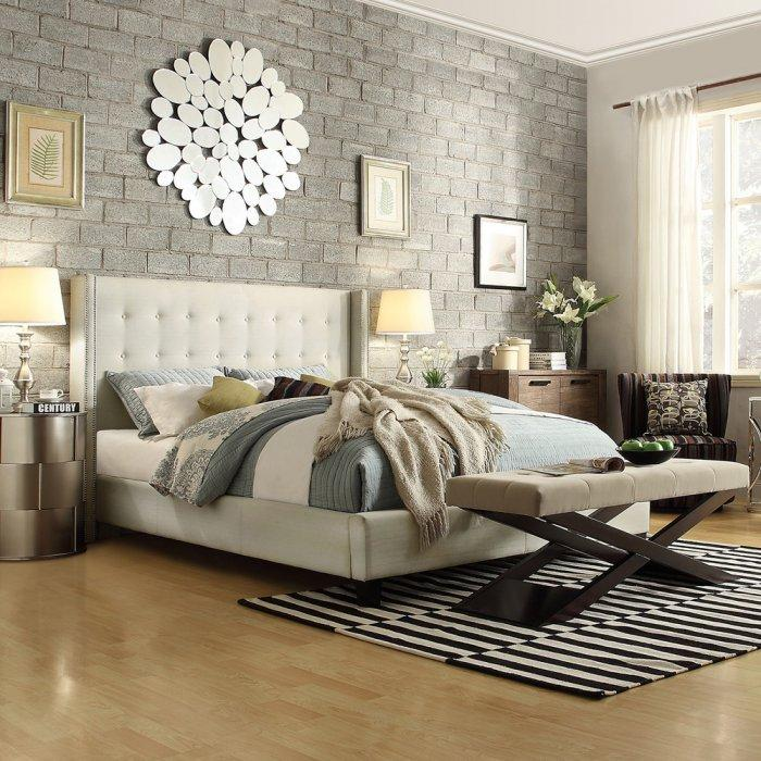 Elegant platform bed - with white headboard